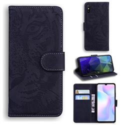 Intricate Embossing Tiger Face Leather Wallet Case for Xiaomi Redmi 9A - Black