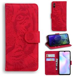 Intricate Embossing Tiger Face Leather Wallet Case for Xiaomi Redmi 9A - Red