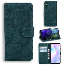 Intricate Embossing Tiger Face Leather Wallet Case for Xiaomi Redmi 9A - Green