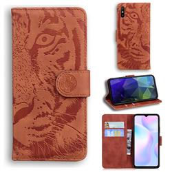 Intricate Embossing Tiger Face Leather Wallet Case for Xiaomi Redmi 9A - Brown