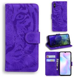 Intricate Embossing Tiger Face Leather Wallet Case for Xiaomi Redmi 9A - Purple