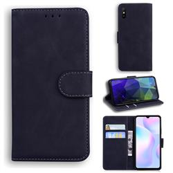 Retro Classic Skin Feel Leather Wallet Phone Case for Xiaomi Redmi 9A - Black