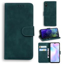 Retro Classic Skin Feel Leather Wallet Phone Case for Xiaomi Redmi 9A - Green