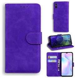 Retro Classic Skin Feel Leather Wallet Phone Case for Xiaomi Redmi 9A - Purple