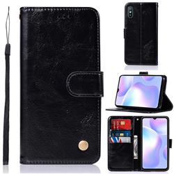 Luxury Retro Leather Wallet Case for Xiaomi Redmi 9A - Black
