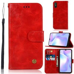 Luxury Retro Leather Wallet Case for Xiaomi Redmi 9A - Red