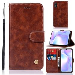 Luxury Retro Leather Wallet Case for Xiaomi Redmi 9A - Brown