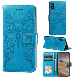 Intricate Embossing Rose Flower Butterfly Leather Wallet Case for Xiaomi Redmi 9A - Blue
