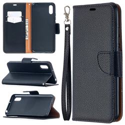Classic Luxury Litchi Leather Phone Wallet Case for Xiaomi Redmi 9A - Black