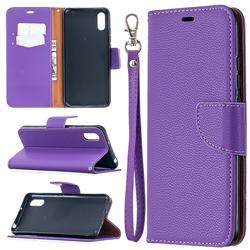 Classic Luxury Litchi Leather Phone Wallet Case for Xiaomi Redmi 9A - Purple