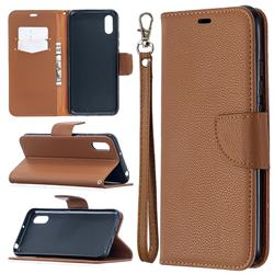 Classic Luxury Litchi Leather Phone Wallet Case for Xiaomi Redmi 9A - Brown