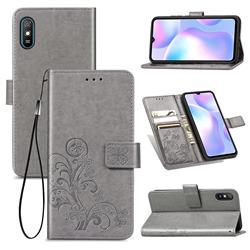 Embossing Imprint Four-Leaf Clover Leather Wallet Case for Xiaomi Redmi 9A - Grey