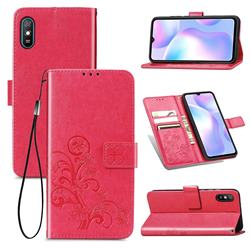 Embossing Imprint Four-Leaf Clover Leather Wallet Case for Xiaomi Redmi 9A - Rose Red