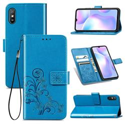 Embossing Imprint Four-Leaf Clover Leather Wallet Case for Xiaomi Redmi 9A - Blue