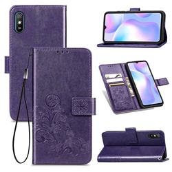 Embossing Imprint Four-Leaf Clover Leather Wallet Case for Xiaomi Redmi 9A - Purple