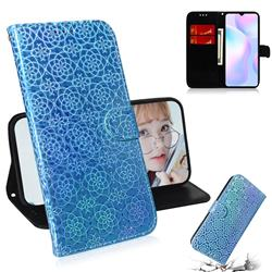Laser Circle Shining Leather Wallet Phone Case for Xiaomi Redmi 9A - Blue