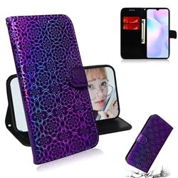 Laser Circle Shining Leather Wallet Phone Case for Xiaomi Redmi 9A - Purple