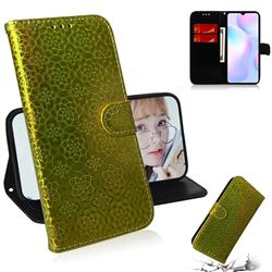 Laser Circle Shining Leather Wallet Phone Case for Xiaomi Redmi 9A - Golden