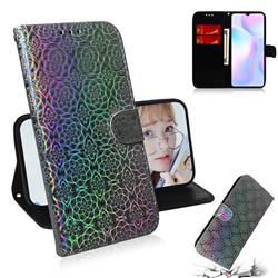 Laser Circle Shining Leather Wallet Phone Case for Xiaomi Redmi 9A - Silver