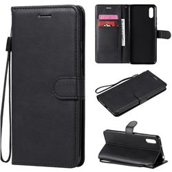 Retro Greek Classic Smooth PU Leather Wallet Phone Case for Xiaomi Redmi 9A - Black