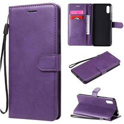 Retro Greek Classic Smooth PU Leather Wallet Phone Case for Xiaomi Redmi 9A - Purple