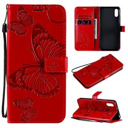 Embossing 3D Butterfly Leather Wallet Case for Xiaomi Redmi 9A - Red
