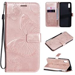 Embossing 3D Butterfly Leather Wallet Case for Xiaomi Redmi 9A - Rose Gold