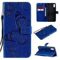 Embossing 3D Butterfly Leather Wallet Case for Xiaomi Redmi 9A - Blue