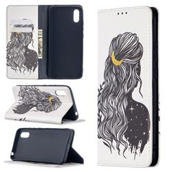 Girl with Long Hair Slim Magnetic Attraction Wallet Flip Cover for Xiaomi Redmi 9A