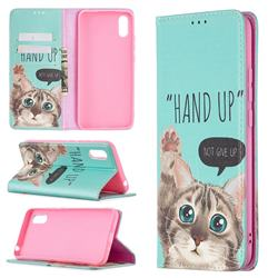 Hand Up Cat Slim Magnetic Attraction Wallet Flip Cover for Xiaomi Redmi 9A