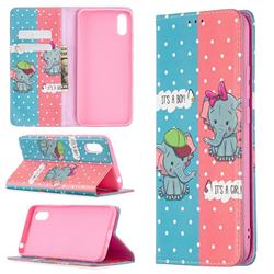 Elephant Boy and Girl Slim Magnetic Attraction Wallet Flip Cover for Xiaomi Redmi 9A
