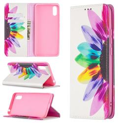 Sun Flower Slim Magnetic Attraction Wallet Flip Cover for Xiaomi Redmi 9A