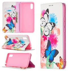Flying Butterflies Slim Magnetic Attraction Wallet Flip Cover for Xiaomi Redmi 9A