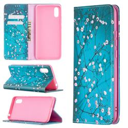Plum Blossom Slim Magnetic Attraction Wallet Flip Cover for Xiaomi Redmi 9A