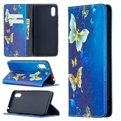 Gold Butterfly Slim Magnetic Attraction Wallet Flip Cover for Xiaomi Redmi 9A