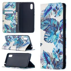 Blue Leaf Slim Magnetic Attraction Wallet Flip Cover for Xiaomi Redmi 9A