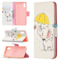 Umbrella Elephant Leather Wallet Case for Xiaomi Redmi 9A