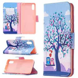 Tree and Owls Leather Wallet Case for Xiaomi Redmi 9A