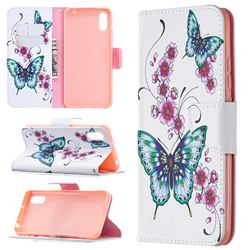 Peach Butterflies Leather Wallet Case for Xiaomi Redmi 9A