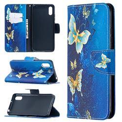 Golden Butterflies Leather Wallet Case for Xiaomi Redmi 9A
