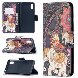 Totem Flower Elephant Leather Wallet Case for Xiaomi Redmi 9A