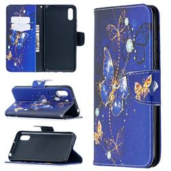 Purple Butterfly Leather Wallet Case for Xiaomi Redmi 9A