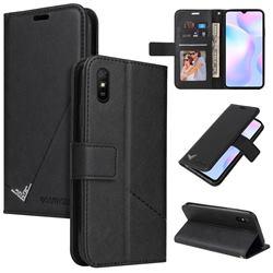 GQ.UTROBE Right Angle Silver Pendant Leather Wallet Phone Case for Xiaomi Redmi 9A - Black