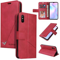 GQ.UTROBE Right Angle Silver Pendant Leather Wallet Phone Case for Xiaomi Redmi 9A - Red