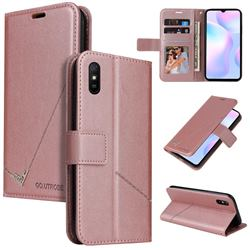 GQ.UTROBE Right Angle Silver Pendant Leather Wallet Phone Case for Xiaomi Redmi 9A - Rose Gold