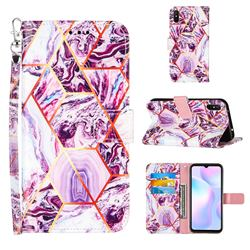 Dream Purple Stitching Color Marble Leather Wallet Case for Xiaomi Redmi 9A