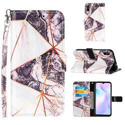 Black and White Stitching Color Marble Leather Wallet Case for Xiaomi Redmi 9A