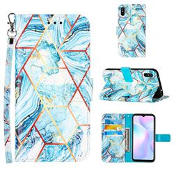 Lake Blue Stitching Color Marble Leather Wallet Case for Xiaomi Redmi 9A