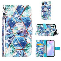Green and Blue Stitching Color Marble Leather Wallet Case for Xiaomi Redmi 9A