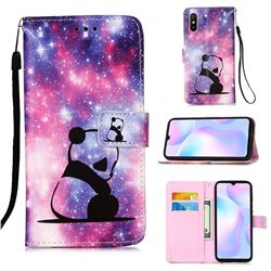 Panda Baby Matte Leather Wallet Phone Case for Xiaomi Redmi 9A